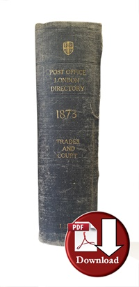 Post Office London Directory 1873 Trades & Court (Digital Download)