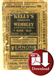 Kelly�s Directory of Wembley, Alperton & Sudbury, 1930 (Digital - Download)