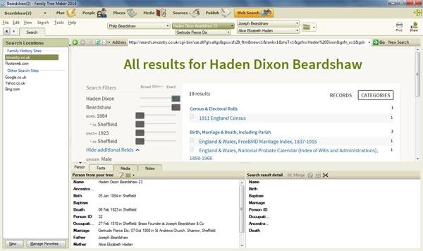 Web search view